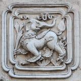 Sztukateryjnej białej rzeźby wzoru ściany projekta dekoracyjny kwadrat Zdjęcie Royalty Free
