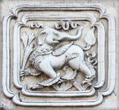 Sztukateryjnej białej rzeźby wzoru ściany projekta dekoracyjny kwadrat dla Zdjęcia Royalty Free