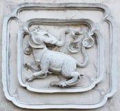 Sztukateryjnej białej rzeźby wzoru ściany projekta dekoracyjny kwadrat dla Fotografia Royalty Free