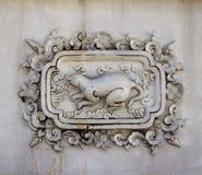 Sztukateryjnej białej rzeźby wzoru ściany projekta kwadrata dekoracyjny format Obrazy Royalty Free