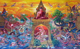 sztuki ściana świątynna tajlandzka zdjęcia royalty free