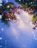 Sztuki błękit śniegu Bożenarodzeniowa tła rama Zdjęcia Royalty Free