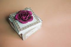Sztuki biżuterii pudełko z szkarłatnym kwiatem na beżowym tle Zdjęcie Royalty Free