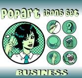 sztuki bizneswomanu ikon wystrzału setu styl Obraz Royalty Free