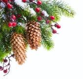 sztuki boże narodzenia osłaniający śnieżny drzewo Zdjęcie Stock