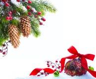 sztuki boże narodzenia osłaniający śnieżny drzewo Zdjęcia Stock