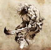 sztuki boju nakreślenia tatuażu wojownik ilustracji