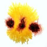 Sztuki brąz, żółta akwarela atramentu farby kropla Fotografia Stock