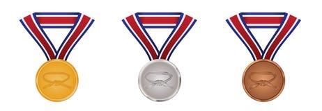 sztuki brązowieją medalu złocistego wojennego srebro ilustracja wektor
