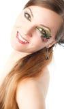 sztuki ciała motylia twarzy kobieta Obrazy Royalty Free