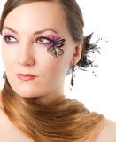 sztuki ciała motylia twarzy portreta kobieta Zdjęcie Stock