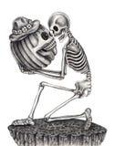 Sztuki czaszka z dyniowym Halloweenowym dniem Fotografia Royalty Free
