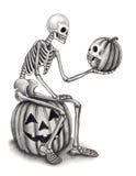 Sztuki czaszka z dyniowym Halloweenowym dniem Obraz Royalty Free