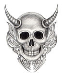 Sztuki czaszki czarci tatuaż Fotografia Stock