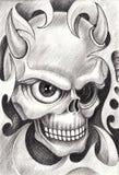 Sztuki czaszki czarci tatuaż Obrazy Stock