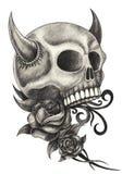 Sztuki czaszki czarci tatuaż Zdjęcia Stock