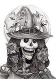 Sztuki czaszki czarownicy Halloween dzień Obraz Stock