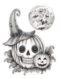 Sztuki czaszki dyniowy Halloweenowy dzień Obrazy Royalty Free