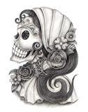 Sztuki czaszki dzień nieżywy festiwal Obrazy Stock