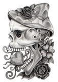 Sztuki czaszki dzień nieboszczyk Zdjęcia Stock