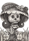 Sztuki czaszki dzień nieboszczyk Zdjęcie Stock