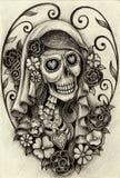 Sztuki czaszki dzień nieboszczyk Fotografia Royalty Free