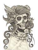Sztuki czaszki dzień nieboszczyk Obraz Royalty Free