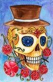 Sztuki czaszki dzień nieżywy festiwal Obrazy Royalty Free