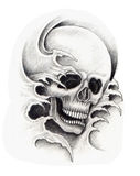 Sztuki czaszki głowy tatuaż Zdjęcia Royalty Free