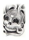 Sztuki czaszki głowy tatuaż Obraz Royalty Free