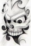 Sztuki czaszki głowy tatuaż Fotografia Royalty Free