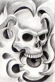 Sztuki czaszki głowy tatuaż Obrazy Royalty Free