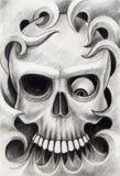Sztuki czaszki głowy tatuaż Zdjęcie Stock