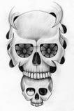 Sztuki czaszki głowy tatuaż Obraz Stock