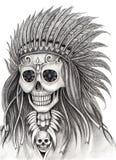 Sztuki czaszki Indiański dzień nieżywy festiwal Obrazy Royalty Free