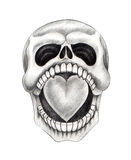 Sztuki czaszki kierowy tatuaż Zdjęcia Royalty Free
