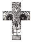 Sztuki czaszki krzyża dzień nieżywy festiwal Obrazy Stock