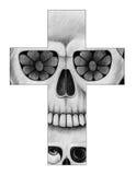 Sztuki czaszki krzyża dzień nieboszczyk Fotografia Stock
