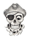 Sztuki czaszki pirata tatuaż Obrazy Stock