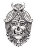 Sztuki czaszki surrealistyczny dzień nieboszczyk Zdjęcia Royalty Free