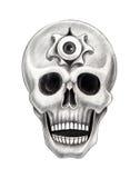 Sztuki czaszki surrealistyczny tatuaż Obrazy Royalty Free