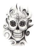 Sztuki czaszki tatuaż Zdjęcia Royalty Free