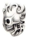 Sztuki czaszki tatuaż Obraz Royalty Free
