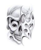 Sztuki czaszki tatuaż Zdjęcie Stock