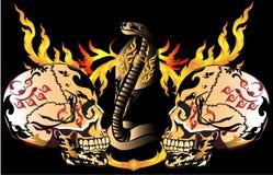 Sztuki czaszki wzoru tatuaż Obrazy Royalty Free