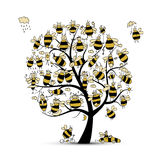 Sztuki drzewo z rodzinnymi pszczołami, nakreślenie dla twój projekta Obraz Stock