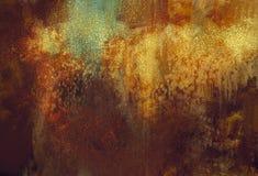 Sztuki grunge abstrakcjonistyczny tło z rdzewiejącym metalu kolorem Obrazy Stock