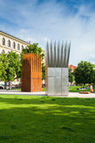 Sztuki instalacja przy Praga parkiem cesky krumlov republiki czech miasta średniowieczny stary widok Obraz Royalty Free