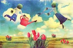 sztuki kolażu latania ludzie ilustracja wektor