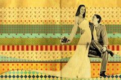 sztuki kolażu retro ślub ilustracji